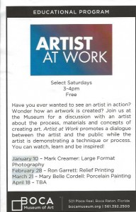 Artist at Work FLyer