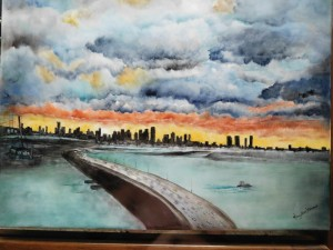 Wild Miami Sky Porcelain Painting by Mary Belle Cordell